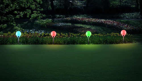 Barevné RGB solární LED osvětlení na zahradu