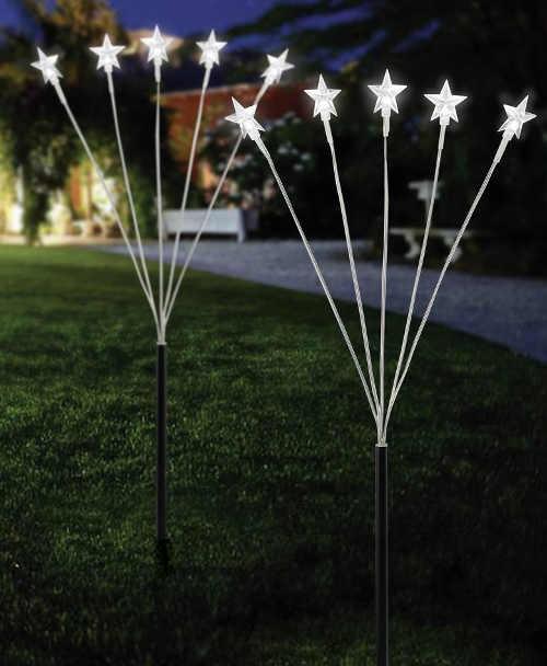 Zahradní světelné LED stonky s 5-ti hvězdami