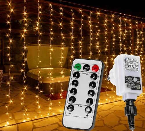 Světelný závěs vánoční - teple bílý