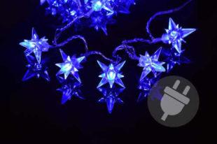 Vánoční LED osvětlení v podobě modrých hvězd