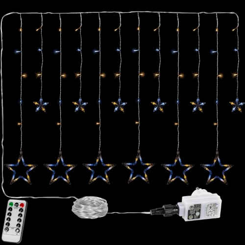 Vánoční závěs tvořený menšími a většími hvězdami