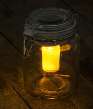 Solární akumulátor vydávající žluté a modré světlo